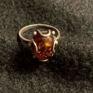 Jewelry - Sterling Silver amber ring